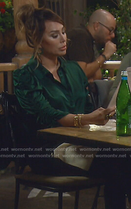 Kelly's green satin ruched blouse on The Real Housewives of Orange County