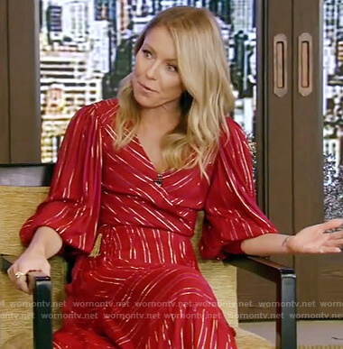 Kelly's red metallic stripe dress on Live with Kelly and Ryan