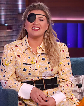 Kelly's yellow printed shirtdress on The Kelly Clarkson Show