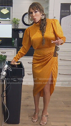Kelly's yellow leopard satin dress on The Real Housewives of Orange County