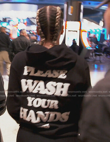 Khloe's black Wash Your Hands hoodie on Keeping Up with the Kardashians