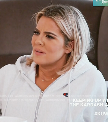 Khloe's white Champion zip hoodie on Keeping Up with the Kardashians