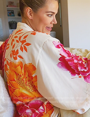 Khloe's white floral robe on Keeping Up with the Kardashians