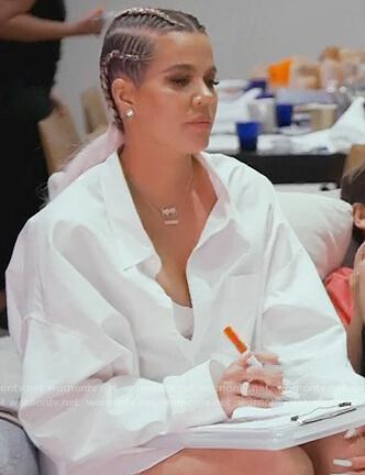 Khloe's white oversized shirt on Keeping Up with the Kardashians