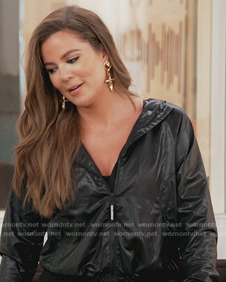 Khloe's black windbreaker jacket on Keeping Up with the Kardashians