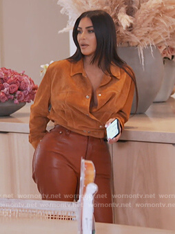 Kim's brown leather pants on Keeping Up with the Kardashians