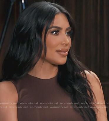 Kim's brown sleeveless bodysuit on Keeping Up with the Kardashians