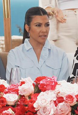 Kourtney's blue satin shirt on Keeping Up with the Kardashians
