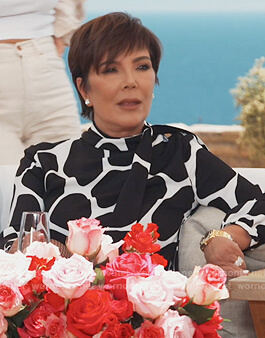 Kris's giraffe print blouse on Keeping Up with the Kardashians