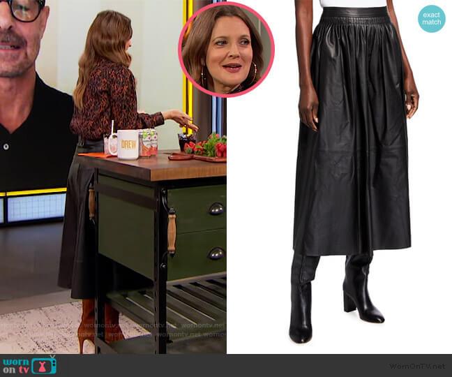 Italian Plonge Lambskin Sumner Skirt by Lafayette 148 worn by Drew Barrymore  on The Drew Barrymore Show