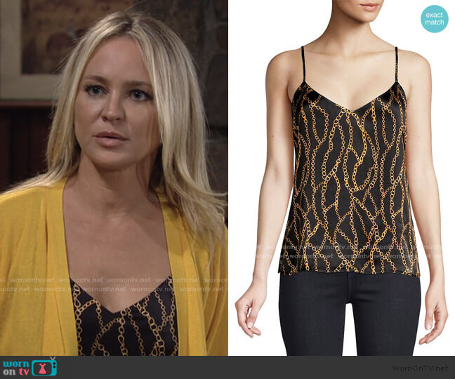 Jane Chain Print Top by L'Agence worn by Sharon Collins (Sharon Case) on The Young & the Restless