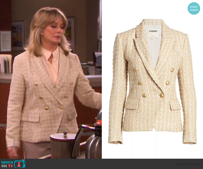 Kenzie Double Breasted Metallic Tweed Blazer by L'Agence worn by Marlena Evans (Deidre Hall) on Days of our Lives