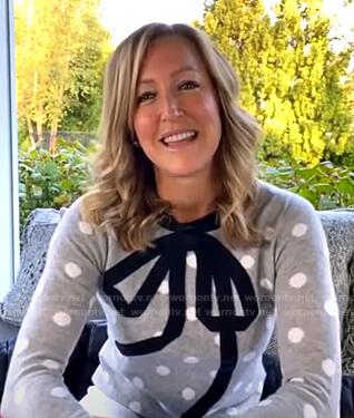 Lara's grey polka dot sweater with bow on Good Morning America