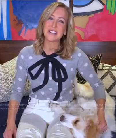 Lara's grey polka dot sweater with bow on Good Morning America