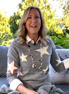Lara's grey star print sweater on Good Morning America