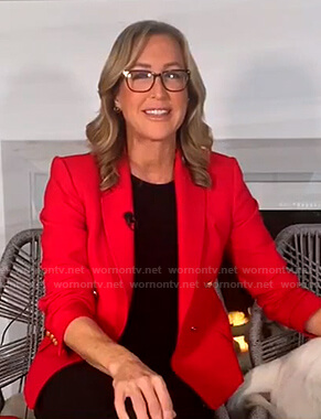 Lara's red double breasted blazer on Good Morning America