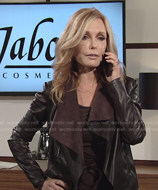 Lauren's brown draped leather jacket on The Young and the Restless