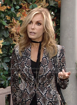 Lauren's snakeskin print blazer on The Young and the Restless