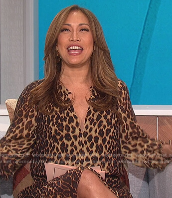 Carrie's leopard print sheer dress on The Talk