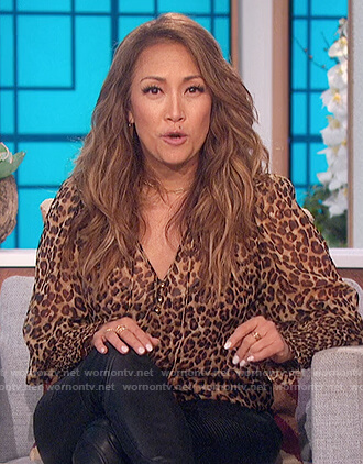 Carrie's leopard smocked blouse on The Talk