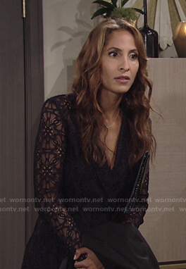 Lily's navy lace blazer dress on The Young and the Restless