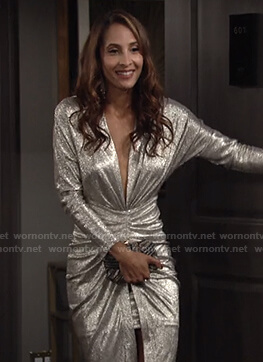 Lily's metallic ruched dress on The Young and the Restless