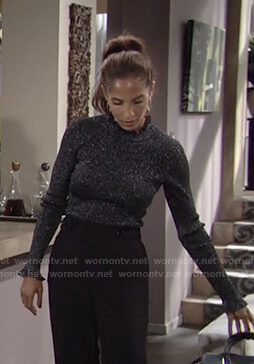 Lily's metallic ruffle turtleneck sweater on The Young and the Restless