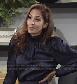 Lily's navy lace-trim puff sleeve top on The Young and the Restless