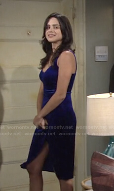 Lola's blue velvet dress on The Young and the Restless
