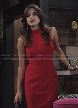 Lola's red halter dress on The Young and the Restless