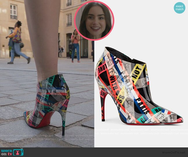 Gorgona Patent Leather Ankle Boots by Christian Louboutin worn by Emily Cooper (Lily Collins) on Emily in Paris