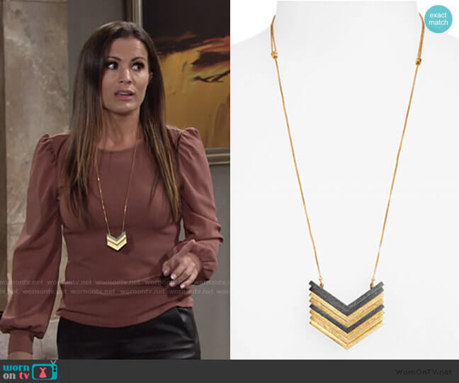 Arrowstack Necklace by Madewell worn by Chelsea Lawson (Melissa Claire Egan) on The Young & the Restless