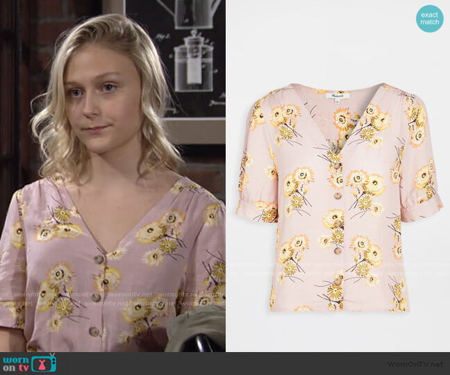 Delancy Button Down Top by Madewell worn by Faith Newman (Alyvia Alyn Lind) on The Young & the Restless