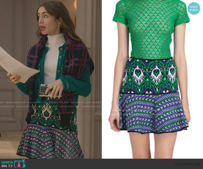 Jacquard Ottoman Skirt by Manoush worn by Emily Cooper (Lily Collins) on Emily in Paris