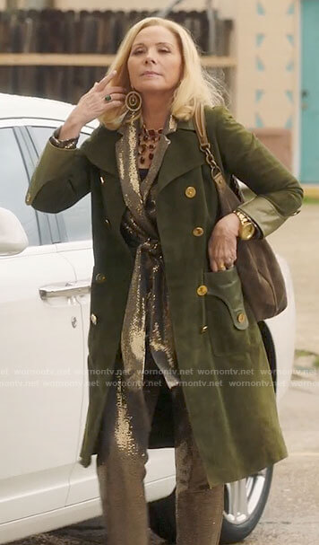 Margaret's green suede trench coat and sequin suit on Filthy Rich