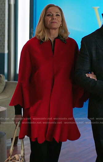 Margaret's red scalloped trim coat on Filthy Rich