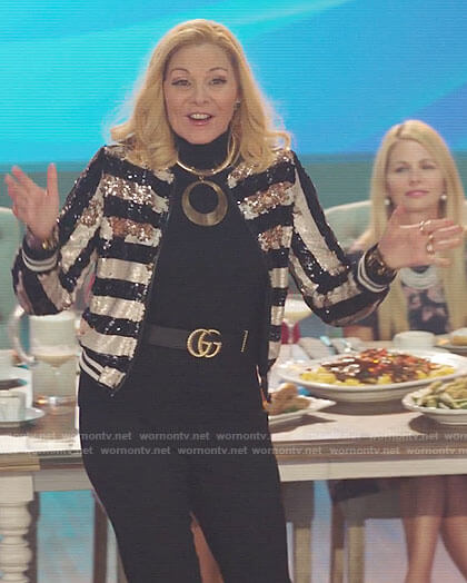Margaret's striped sequin bomber jacket on Filthy Rich