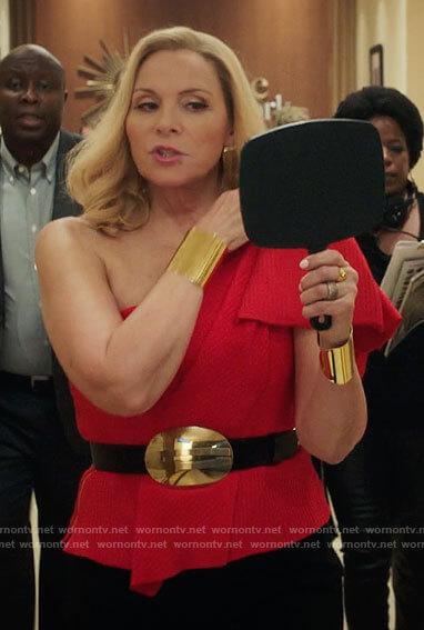 Margaret's red one-shoulder top on Filthy Rich