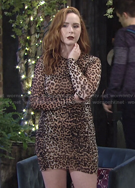 Mariah's leopard print ruched dress on The Young and the Restless