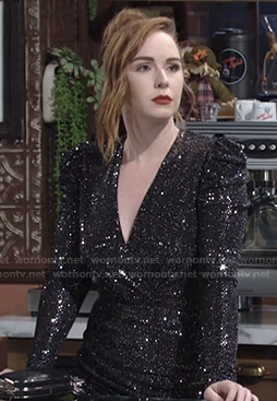 Mariah's black sequin wrap dress on The Young and the Restless