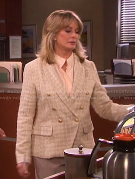 Marlena's metallic tweed blazer on Days of our Lives