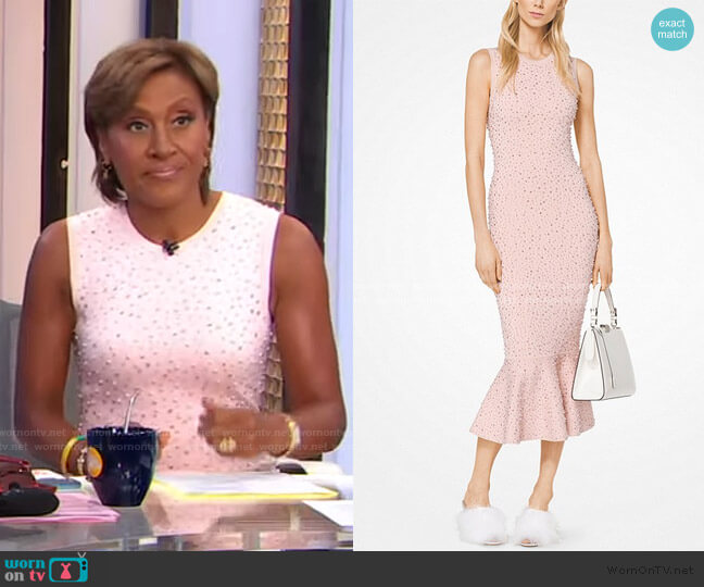 Embroidered Stretch-Viscose Trumpet Dress by Michael Kors worn by Robin Roberts  on Good Morning America