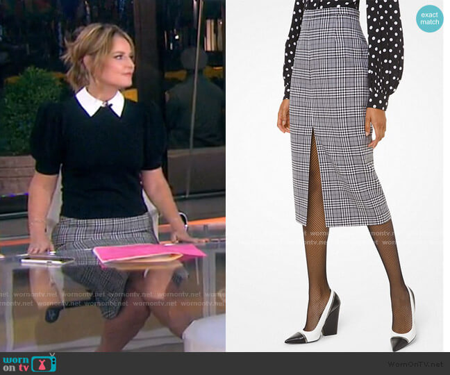 Glen Plaid Wool Slit-Front Pencil Skirt by Michael Kors worn by Savannah Guthrie  on Today