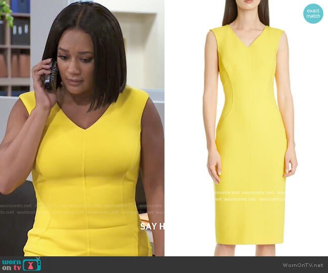 Michael Kors Double-Face Stretch Bouclé Sheath Dress worn by Fatima (Crystal Hayslett) on Tyler Perrys Sistas