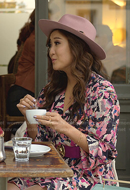 Mindy's abstract print wrap dress on Emily in Paris