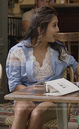 Mindy's blue stripe lace panel top on Emily in Paris