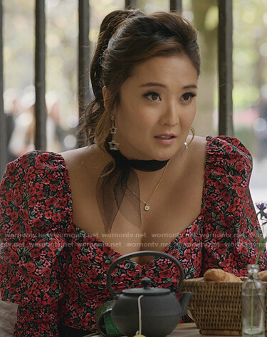 Mindy's floral puff sleeve top on Emily in Paris