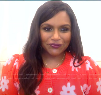 Mindy Kaling's red floral cardigan on Good Morning America