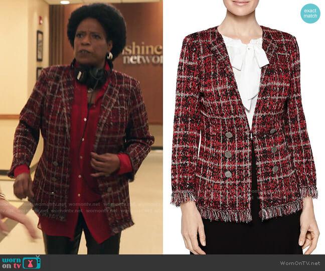 Misook Plaid Tweed Knit Jacket worn by  Norah Ellington (Deneen Tyler) on Filthy Rich