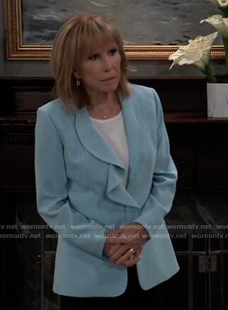 Monica's blue ruffle lapel blazer on General Hospital